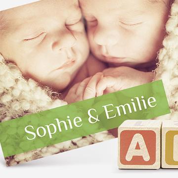Faire-part naissance jumeaux