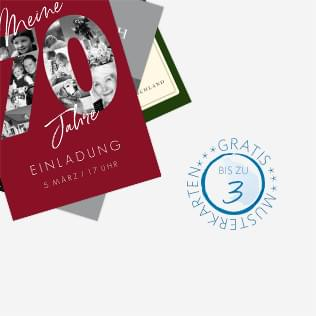 Gratis Musterkarten für Einladungen zum 70. Geburtstag