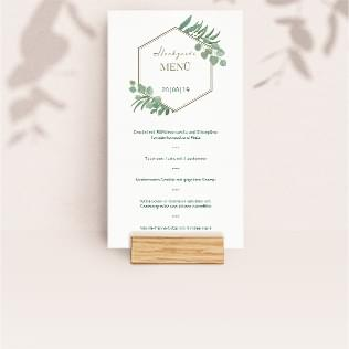 Menükarte mit Holzfuß Hochzeit