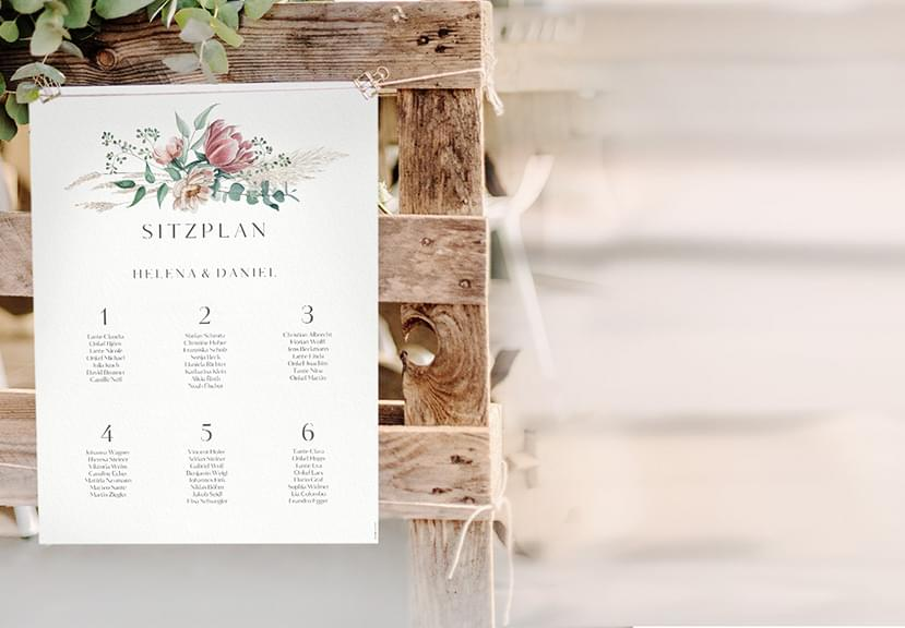 Sitzplan Plakat für die Hochzeit