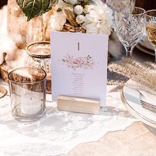 Gruppentischkarten für die Hochzeit