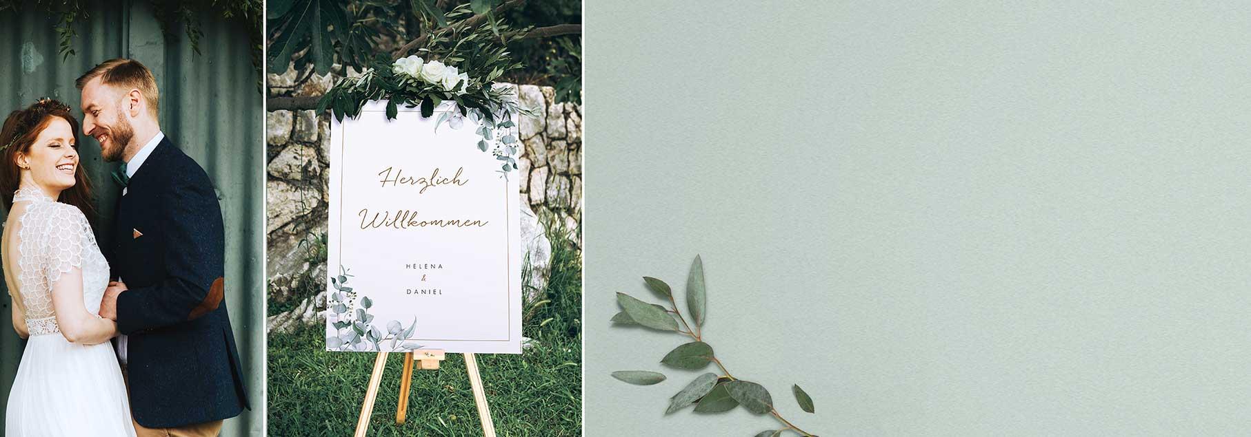 Willkommensschild zur Hochzeit