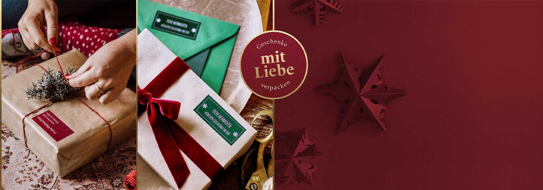 Geschenkeaufkleber für Weihnachten