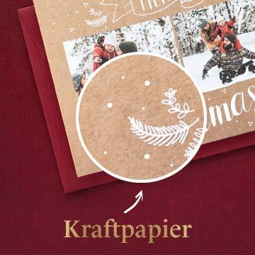 Weihnachtskarten mit Kraftpapier selbst gestalten