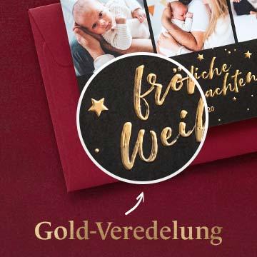 Weihnachtskarten mit Goldveredelung selbst gestalten