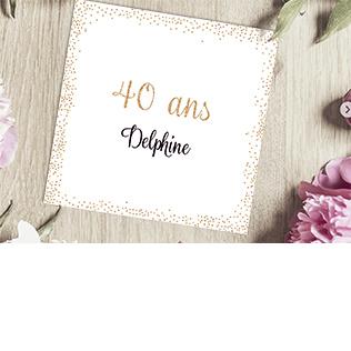 Carte invitation anniversaire 40 ans doré