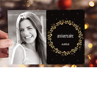Carte invitation anniversaire adulte couronne scintillante doré