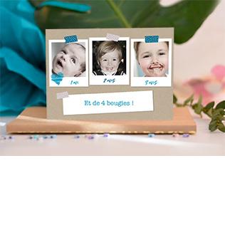 carte invitation anniversaire enfant carte petits polaroids