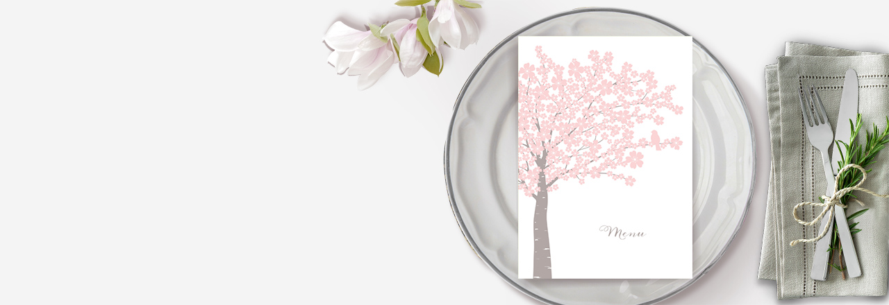 Menu de baptême fleurs de cerisier rose