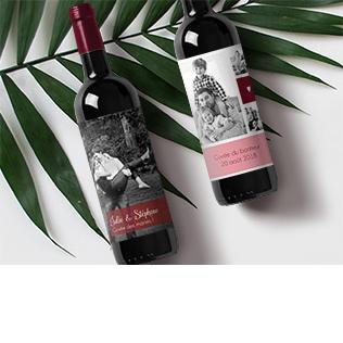 Étiquette bouteille avec photo