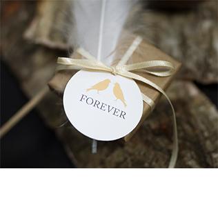 Étiquette avec ruban mariage forever