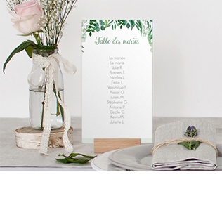 Nom de table mariage greenery