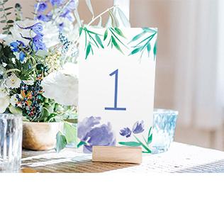 numéro de tables fleurs aquarelle