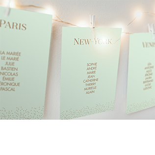 Petits cartons pour plan de tables scintillant