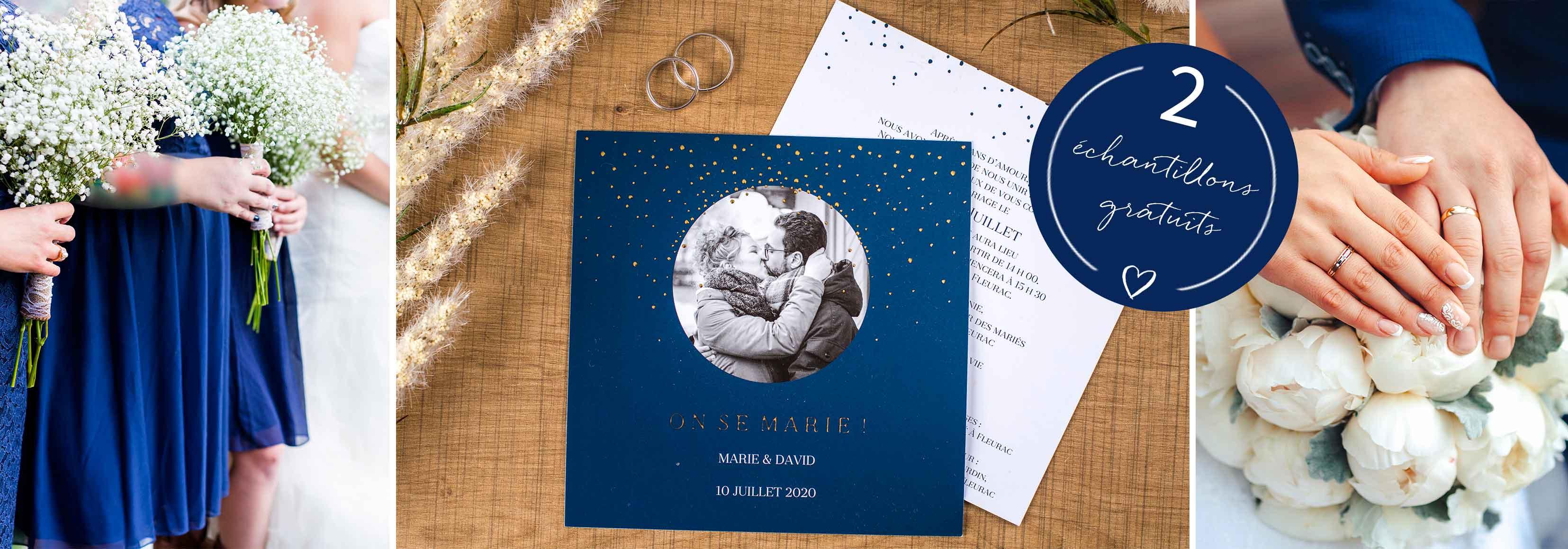 Faire-part mariage bleu