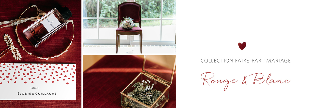 faire-part mariage inspiration rouge et blanc