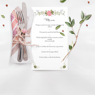 Menu mariage fleurs