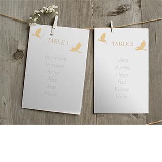 Petits cartons pour plan de tables amour poétique