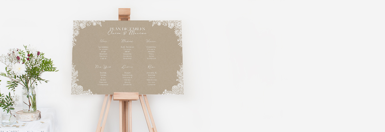 poster plan de table kraft dentelle