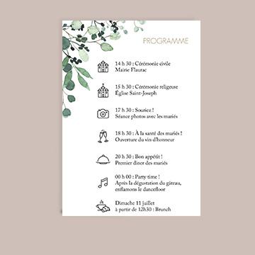Programme mariage carte postale