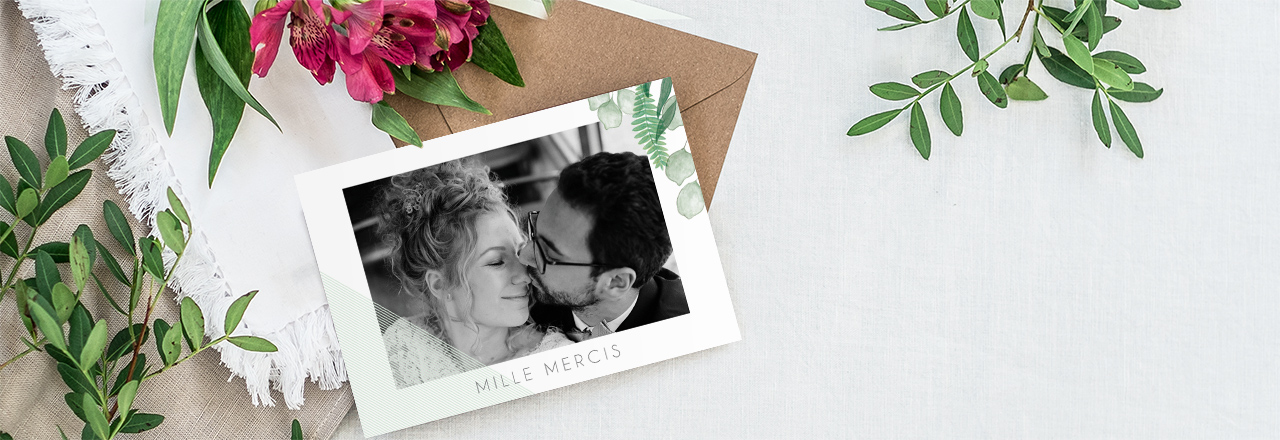 Carte remerciements mariage greenery