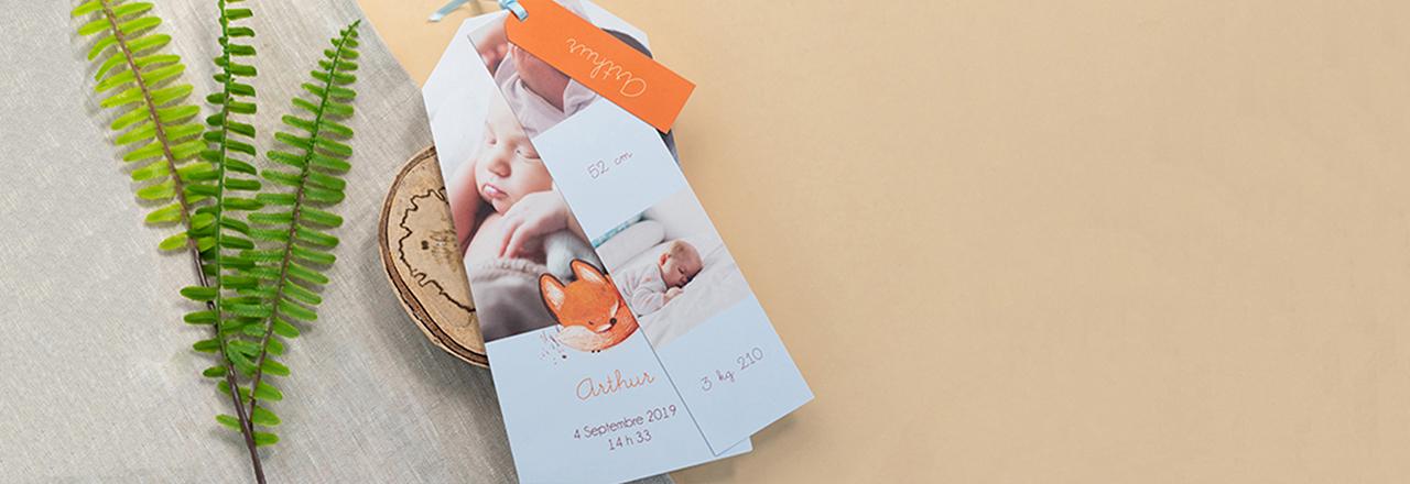 Faire-part naissance marque-page