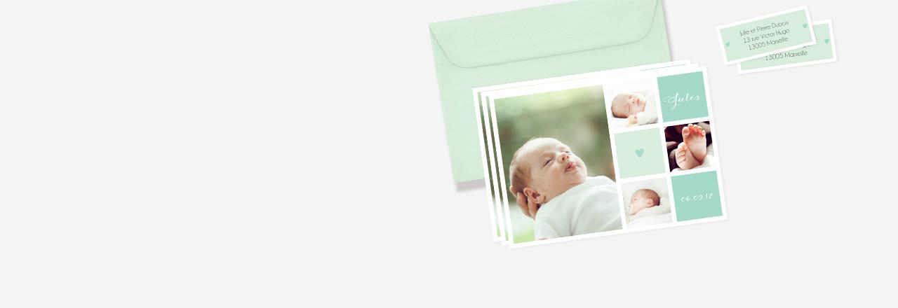 assortiment faire-part naissance et enveloppe
