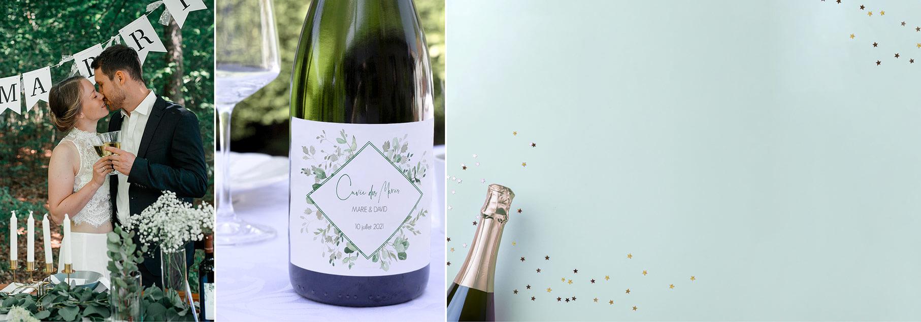 Étiquette pour bouteille de champagne