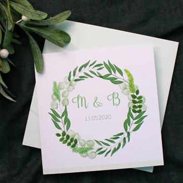 Faire-part mariage champetre couronne florale