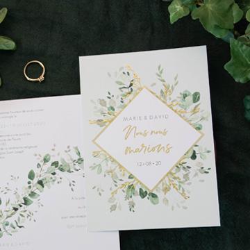 Faire-part mariage champêtre dorure