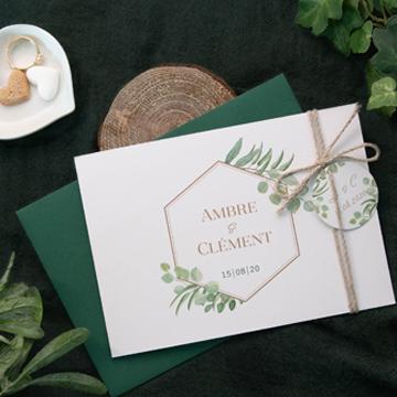 Faire-part mariage champêtre eucalyptus