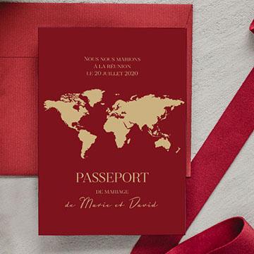 Faire-part mariage original voyage