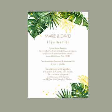 Faire-part mariage tropique