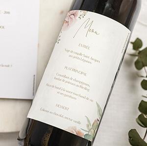 Etiquette bouteille pour menu