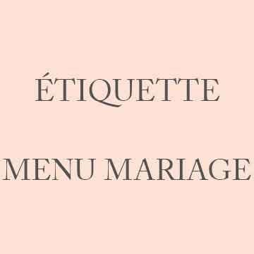 Étiquette menu mariage