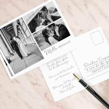 Carte postale remerciement mariage