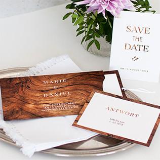 Rustik-Holz-Hochzeitseinladung