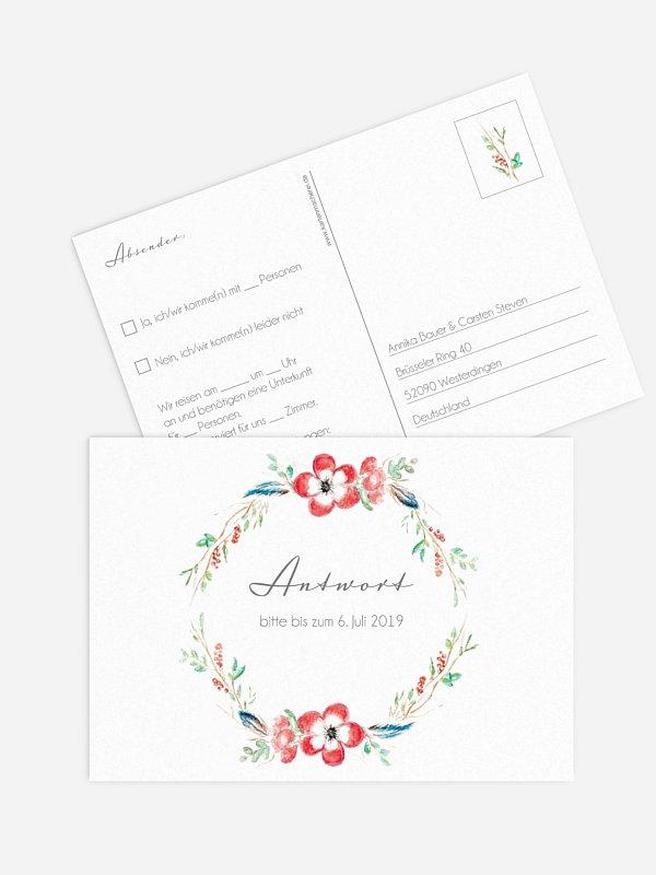 Antwortkarte Hochzeit Blossom