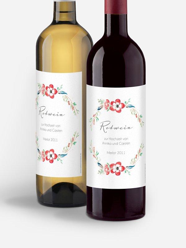 Flaschenetikett Hochzeit Blossom