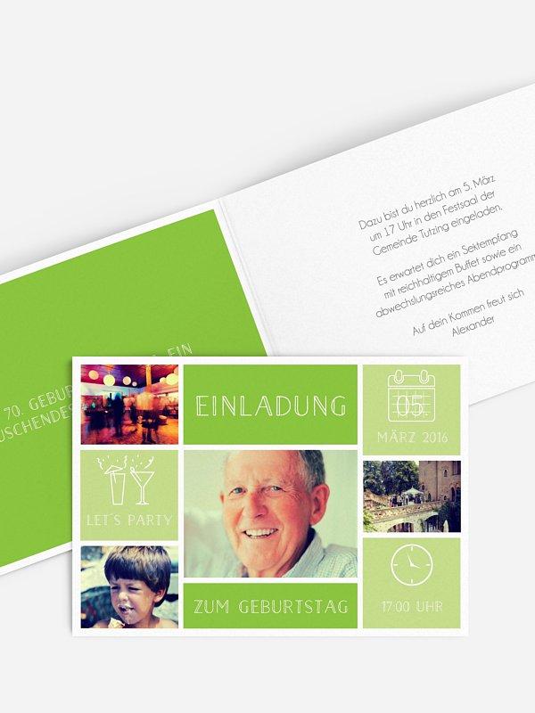 Einladung 70. Geburtstag Einzelstück