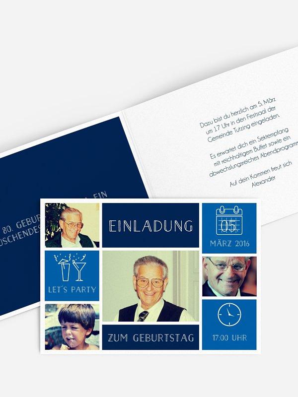 Einladung 80. Geburtstag Einzelstück