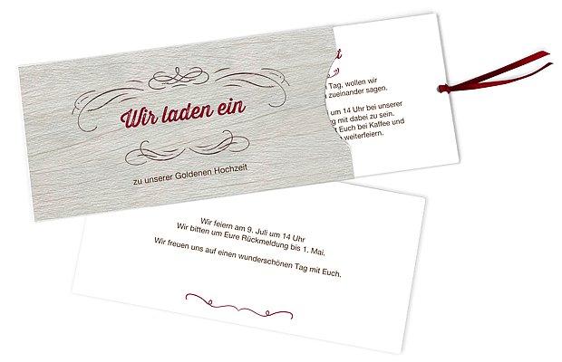 Einladung zur Goldenen Hochzeit Rustikal
