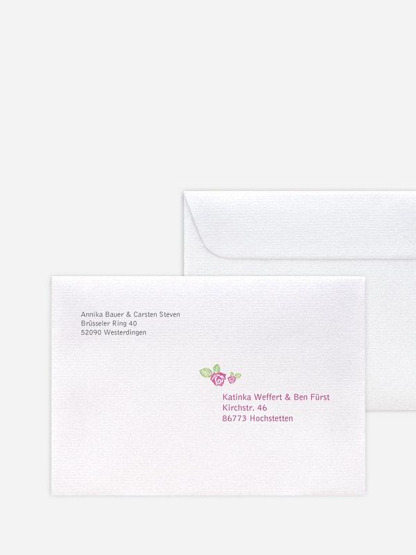 Bedruckter Briefumschlag Hochzeit Rosenblüte