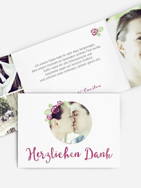 Dankeskarte Hochzeit Rosenblüte