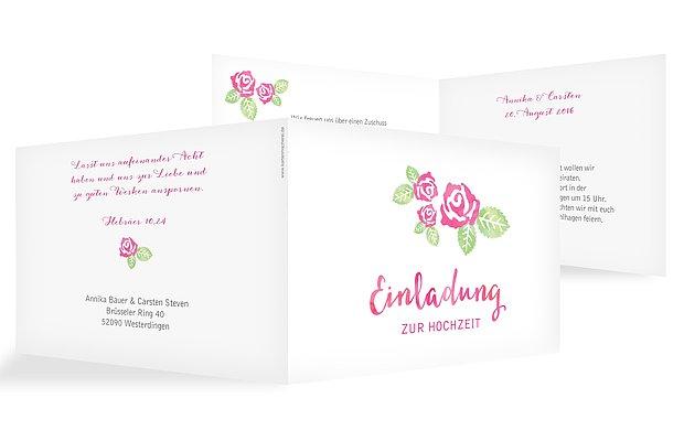 Hochzeitseinladung Rosenblüte