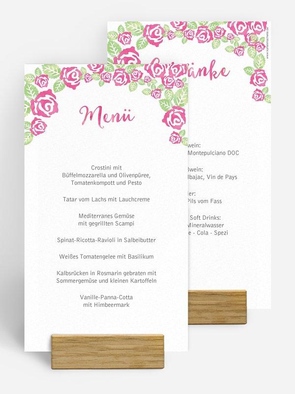 Menükarte Hochzeit Rosenblüte