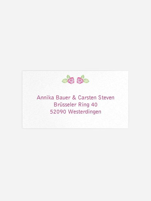 Empfängeraufkleber Hochzeit Rosenblüte