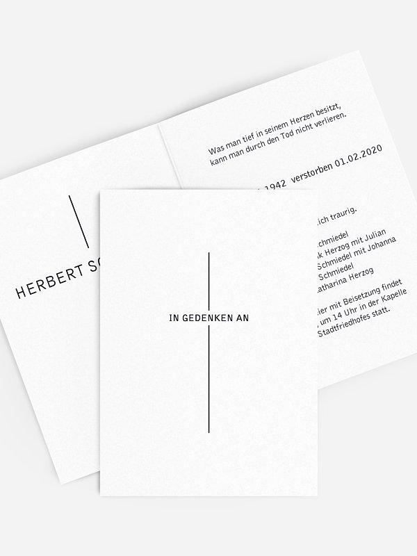 Trauerkarte Kreuzzeichen
