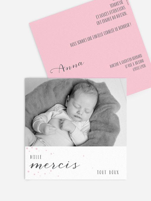 Carte remerciement naissance Poème