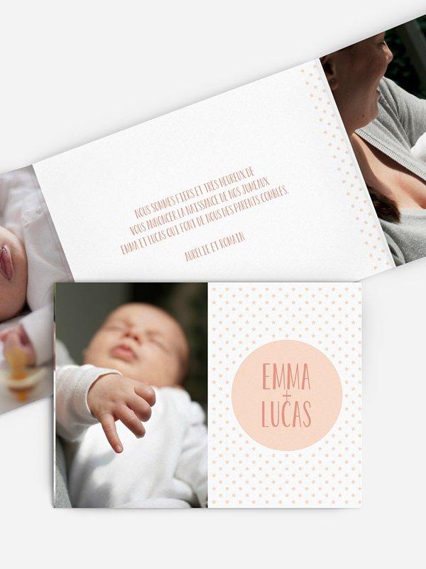 Faire-part naissance jumeaux My little star